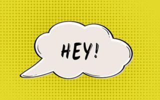 HEY speak bubble in retro comic style
